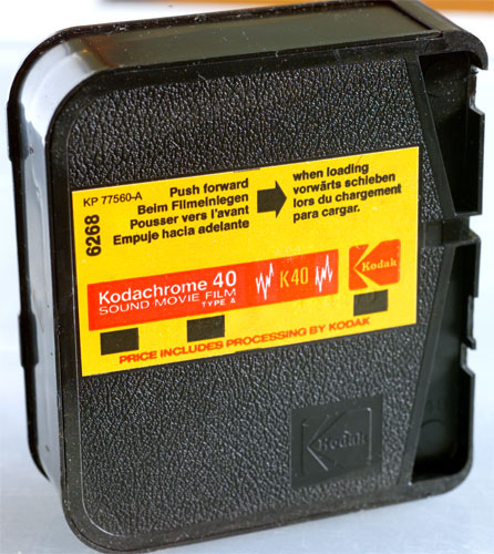 A roll of Kodachrome 40 Super 8 movie film.  A cartridge that size would yield two and 1/2 minutes of footage.