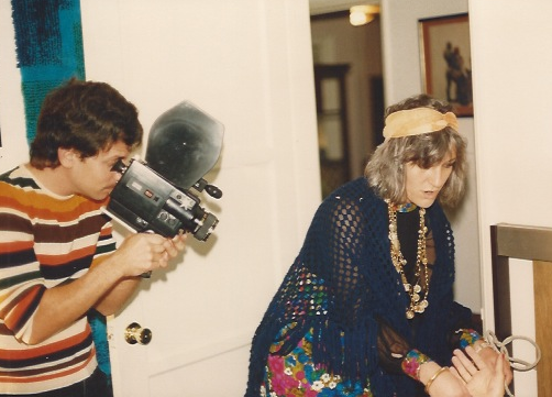"Pirro, armed with his Chinon Super 8 camera, shoots a scene from his 1988 film ""Curse of the Queerwolf."""