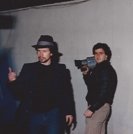 Director Pirro with Bruce Heinsius working on Curse of the Queerwolf (1988)