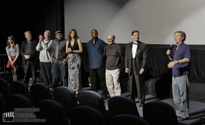 """Pirro (far right) presents the stellar cast of """"Rage of Innocence"""" after the showing."""
