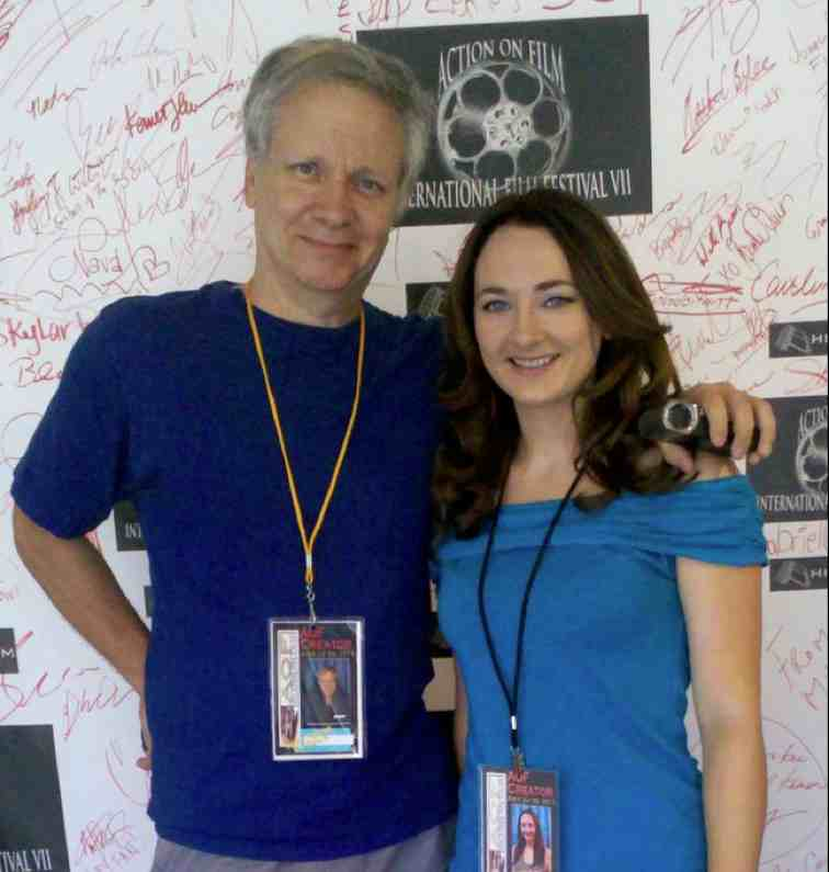 "Director Mark Pirro and actress Lauren Baldwin at the Action on Film Festival where ""The God Complex"" was featured."