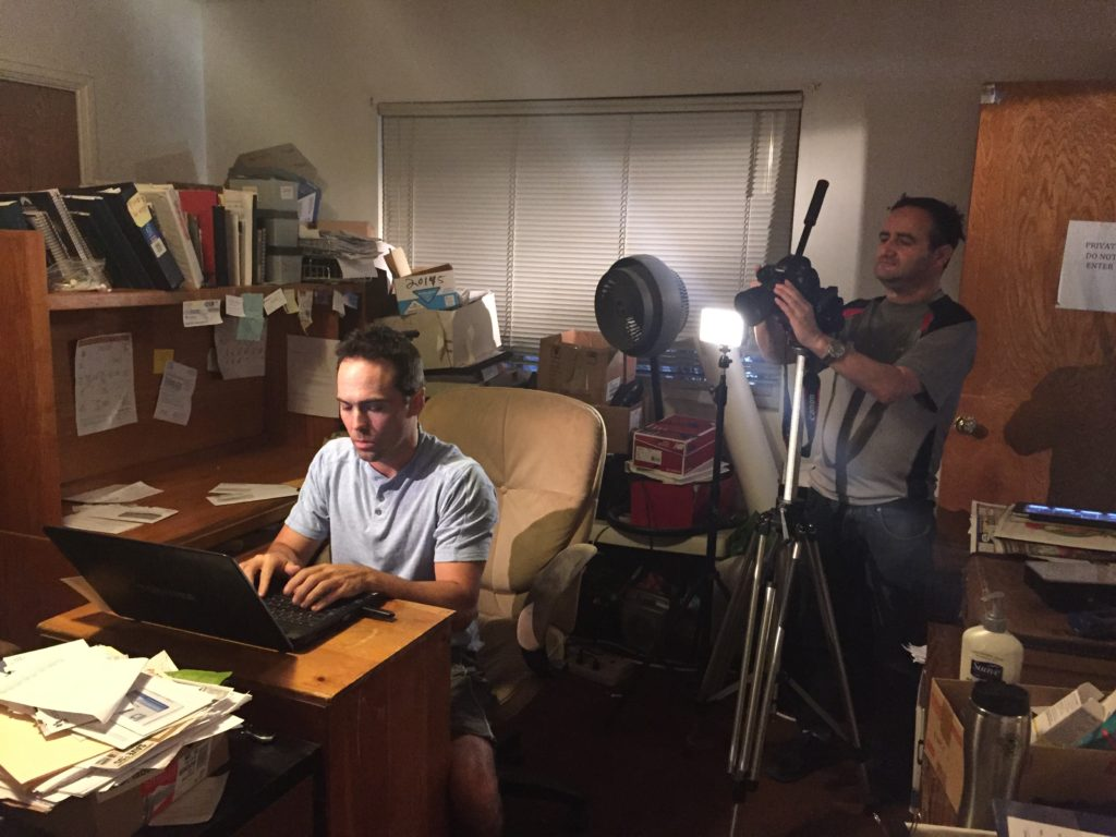 "Cameraman Bruce Heinsius filming actor Dennis Kinard for Pirromount's ""Celluloid Soul."""
