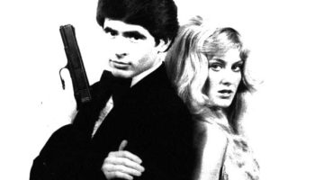 Publicity pose from Pirromount's 1979 James Bond parody, The Spy Who Did It Better starring John McCafferty and Jeri Lee Ott
