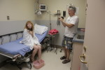 """Director Mark Pirro and actress Stef Dawson filming a clinic scene for Pirromount's """"Rage of Innocence"""" (2014)"""